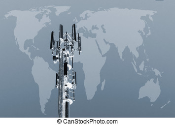Worldwide communications - Closeup of transmitter tower...