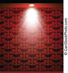 Lighted red seamless wall with lamp. Vector