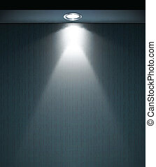 Lighted wall with lamp. Vector
