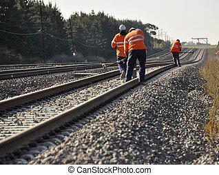 Railway Workers Repairing Track - Railway Workers repairing...