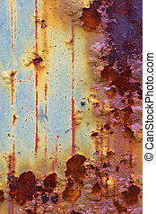 Colorfull and rusty - rusty iron plate with color drop off