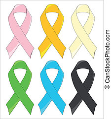 Six Awareness Ribbons - A group of six awareness ribbons...