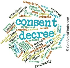 Consent decree - Abstract word cloud for Consent decree with...