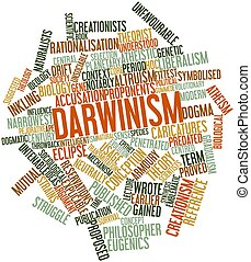 Darwinism - Abstract word cloud for Darwinism with related...