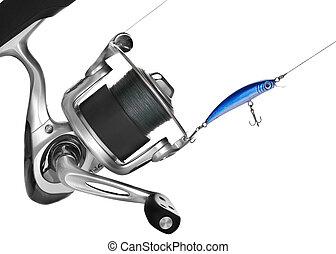 Fishing Reel Over White