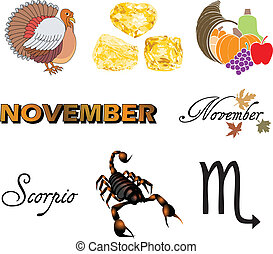 November Icons - Vector Illustration of eight November Icons...