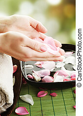 Beautiful Woman Hands Manicure Concept