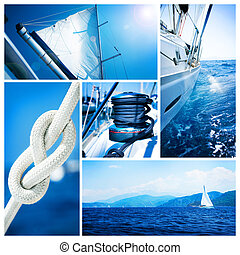 Yacht collage.Sailboat.Yachting concept