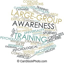 Large-group awareness training - Abstract word cloud for...
