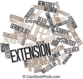 Life extension - Abstract word cloud for Life extension with...