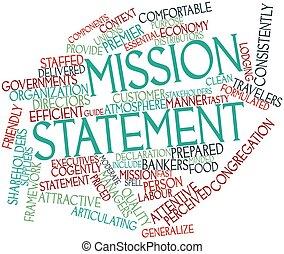 mot, nuage, mission, déclaration