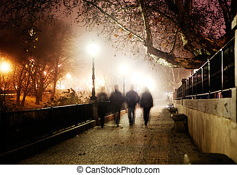 Night city image and people walking