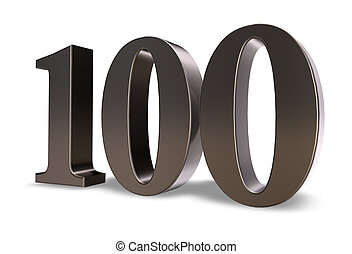 one hundred - metal number one hundred on white background -...