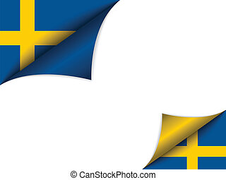 Sweden Country Flag Turning Page - Vector - Sweden Country...