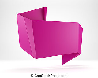3d abstract glossy magenta origami speech bubble isolated on...