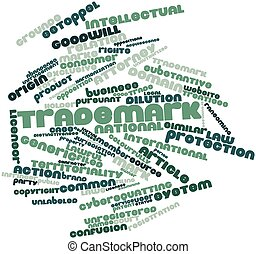 Trademark - Abstract word cloud for Trademark with related...