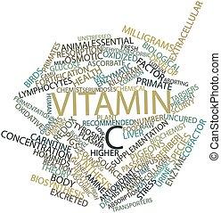 palabra, nube, vitamina, C
