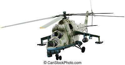 Helicopter - Monument of military helicopter. Isolated on...