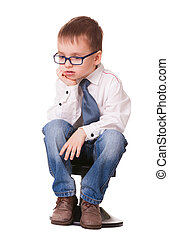 Very sad clever kid on white