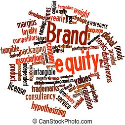Brand equity - Abstract word cloud for Brand equity with...