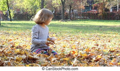 little girl fun with autumn leaves