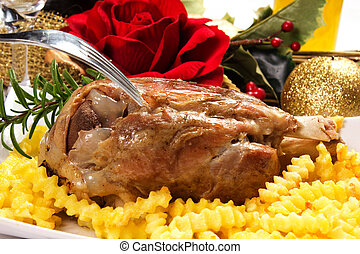 ham hocks with fries on the table the day of christmas
