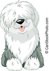 Old English Sheepdog - Illustration of sitting funny Old...