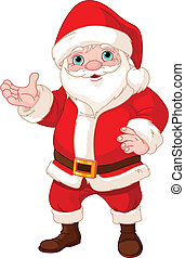 Santa Claus showing to copy space - Santa Claus standing,...