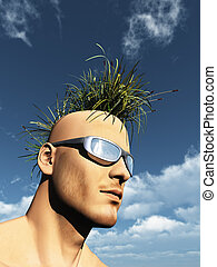 grass mohawk - human head with grass mohawk hair - 3d...