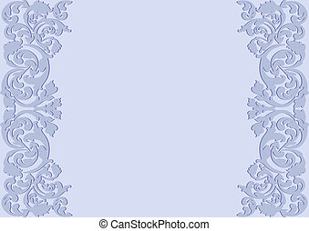 light blue background with floral ornaments