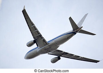 jet airbus overhead at vancouver airport