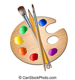Art palette with paint brush for drawing Vector illustration...