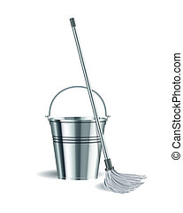Bucket and mop on white background. Vector illustration