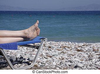 Feet on sunchair