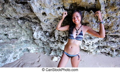 Sexy Asian Girl Lean Against Rock - Sexy Asian Girl at...