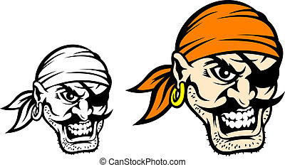 Caribbean danger pirate in cartoon style in color and...