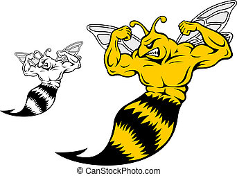 Danger yellow jacket with muscles for mascot design