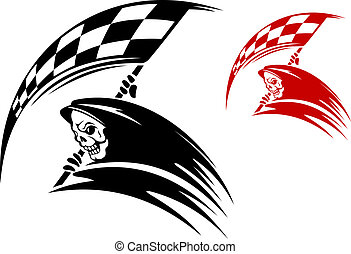 Black death with ckeckered flag for danger racing concept or...