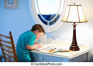 Little boy drawing or writing - Portrait of cute happy...