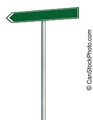 Left road route direction pointer this way sign, green isolated roadside signage, white traffic arrow frame roadsign, grey pole post