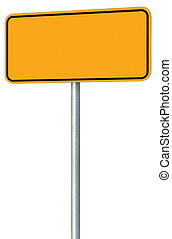 Blank Yellow Road Sign Isolated, Large Perspective Warning Copy Space, Black Frame Roadside Signpost Signboard Pole Post Empty Traffic Signage