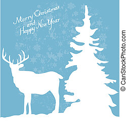 deer - vector card with reindeer and tree
