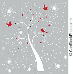 snow tree with birds - vector snow tree with birds