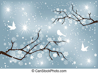 snow - vector snow branches with birds