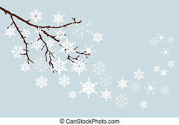 winter branch - vector snow branch