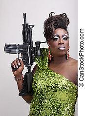 obstáculo, reina, arma de fuego