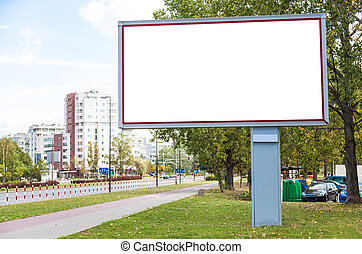 Blank billboard in city - Blank billboard on road in city