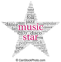 Music star concept words - Music star concept in word tag...
