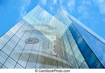 Office building with hundred dollar bill on blue sky with...