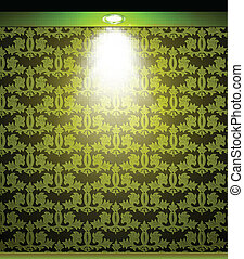 Lighted green seamless wall with lamp. Vector